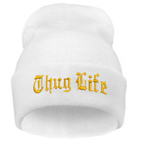 THUG LIFE Letter Embroidered Unisex Beanie Fashion 2pac Hip Hop Mens & Womens Knitted White & Gold Tupac Cuffed Skully Hat