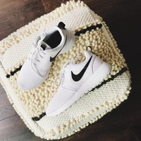 Nike White + Black Roshe One Sneaker