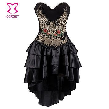Black Vintage Floral Print Sexy Corsets And Bustiers Gothic Corset Dress Steampunk Clothing Women Plus Size Burlesque Costumes