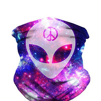 We Rave in Peace Alien Seamless Face Mask Bandana for Dust, Music Festivals, Raves, Riding, Outdoors