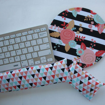 Mouse pad, keyboard rest, and mouse wrist rest set - black white stripe gold metillic flowers triangles- coworker desk cubical office accessories