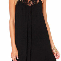 Black Halter Lace Sleeveless Mini Dress