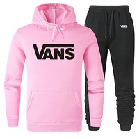 Vans Fashion New Letter Print Women Men Sports Leisure Hooded Long Sleeve Top And Pants Two Piece Suit Pink