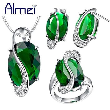 Almei Fashion Blue Crystal Jewerly Sets for Women 925 Silver Cute Wedding Accessories Necklace Set Earrings Green Red Rings T155