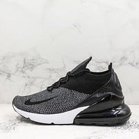 Nike Air Max 270 Flyknit Oreo Black/black-white Running Shoes - Best Deal Online