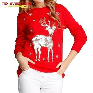 Try Everything Deer Christmas Jumpers Ladies O-neck Loose Women Sweaters And Pullovers 2017 Red And Black Winter Sweaters Women