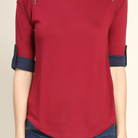 Shoulder Zipper Accented Top