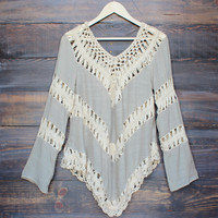 Boho crochet gauze tunic in taupe