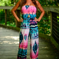 Hippie Chic Jumpsuit, Teal/Pink