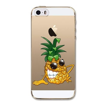 Pineapple Fruit Silicone Soft Transparent Back Cover Phone Case For Apple iPhone 6 6s