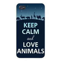 Apple Iphone Custom Case 5 / 5s White Plastic Snap on - Keep Calm and Love Animals