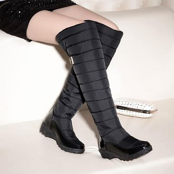 Down Knee High Snow Boots Wedge Heels 4604