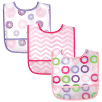 Luvable Friends 3 Pack PEVA Crumbcatcher Bibs - Pink Pinwheel