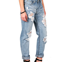 Shredded Boyfriend Jeans   Trendy Jeans at Pink Ice