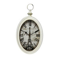 Cream Iron Vintage-Inspired Wall Clock with Roman Numerals