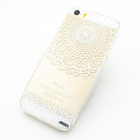 """Clear Plastic Case Cover for iPhone 6 (4.7"""") Mandala Sun Lace tribal vintage mayan aztec floral"""