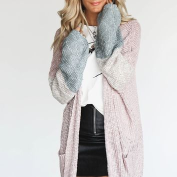 Change Is Good Color Block Mauve Oversized Cardigan