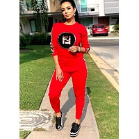 Fendi Women's Sequined Applique Elastic Letter Ribbon Sports Casual Two-Piece Set red