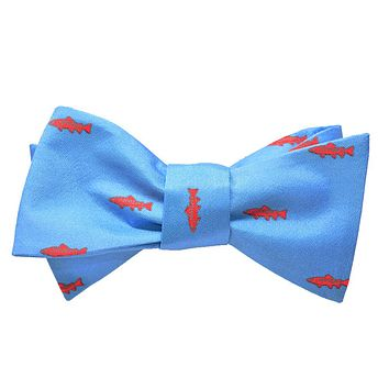 Trout Bow Tie - Light Blue, Printed Silk