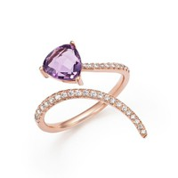 Diamond and Amethyst Open Swirl Ring in 14K Rose Gold | Bloomingdales's