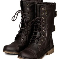 Nature Breeze AC21 Women Zipper Round Toe Military Lace Up Boot - Brown (Size: 7.5)