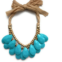 Ready To ship teal Tear Drop necklace Antropologie inspired bib statement necklace Christmas gift Large necklace