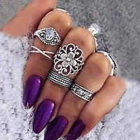TOMTOSH 5 Pcs/Set Retro Carved Ring Bohemian Midi Ring Set Vintage Steampunk Anillos Knuckle Rings For Women Boho Jewelry