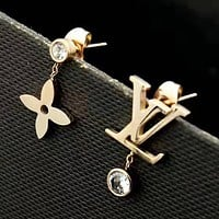 LV Louis Vuitton New fashion letter diamond earring Rose Gold