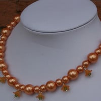 Glass Pearls Necklace with Flowers