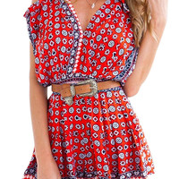 Cold Shoulder Beach Romper In Floral Print