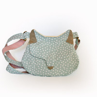 Cat purse fox purse fabric cross body handbag cat small messenger minty gold fairy kei bag