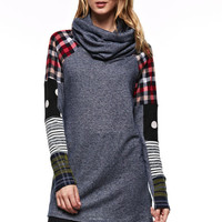 Patchwork Sleeve Cowl Neck Tunic - Denim Blue