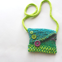Blue and green, necklace pouch, knit pouch, medicine bag, coin purse, wool pouch, medicine bag necklace