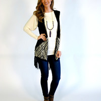 Franki Fringe Knit Vest with Crochet Back: Black