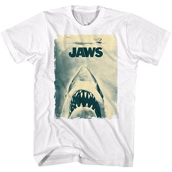 Jaws T-Shirt Distressed Sepia Movie Poster White Tee