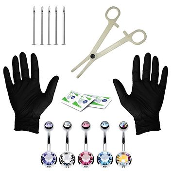 15PC Professional Piercing Kit Multicolor Steel 14G Double CZ Belly Navel Ring Body Piercing