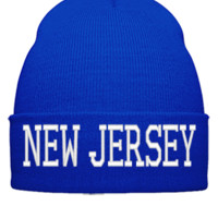 NEW JERSEY EMBROIDERY HAT - Beanie Cuffed Knit Cap