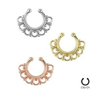 Gold-Tone Fake Septum Clicker Clip On Non Piercing Nose Ring Hoop Cartilage Tribal Fan 3/8""