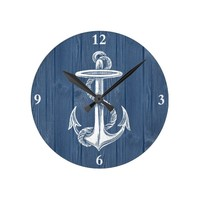 Anchor Vintage Blue Wood Clock