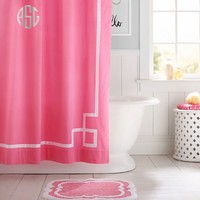 Emma Ribbon Trim Shower Curtain, Bright Pink