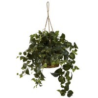 Artificial Plant -Philo Hanging Basket Silk Plant