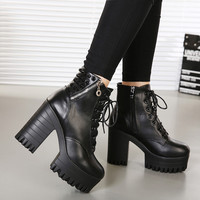 New brand 2016 spring and autumn women boots platform high-heeled thick heel lacing casual shoes with zipper good quality