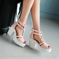 T Straps Peep Toe Platform Sandals High Heels Chunky Heel Pumps 1954