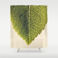 green leaf abstract Shower Curtain by Ingrid Beddoes
