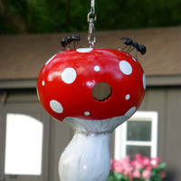 Birdhouse Gourd Hand Painted Mushroom with a Pair of Adorable Ants Designs by Sugarbear Original