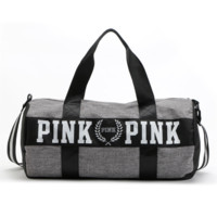 Victoria New fashion hand luggage bag luggage pink print letter bag large capacity fitness travel bag Light gray