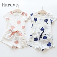 2pc Casual Kids Clothing Baby Girls Clothes Sets Summer Heart Printed Girl Tops Shirts + Shorts Suits Children's Clothing