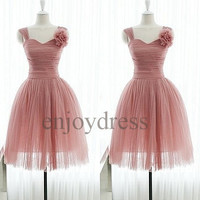 Custom Short Tulle Prom Dresses Short Ball Gown Formal Evening Dress Lovely Party Dresses Wedding Party Dress Bridemaid dresses 2014