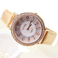 Gogoey Rhinestone Glitter Round Womens Dress Watch with Gold - Tan Bands