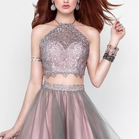 [79.99] Unique Lace & Tulle Halter Neckline A-Line Two-piece Homecoming Dresses With Beads - dressilyme.com
